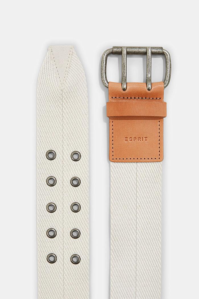 Reciclado: cinturón tejido con detalles de piel, LIGHT BEIGE, detail image number 1