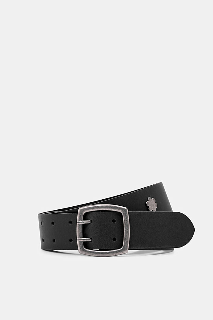 Leather: wide belt with studs, BLACK, detail image number 0