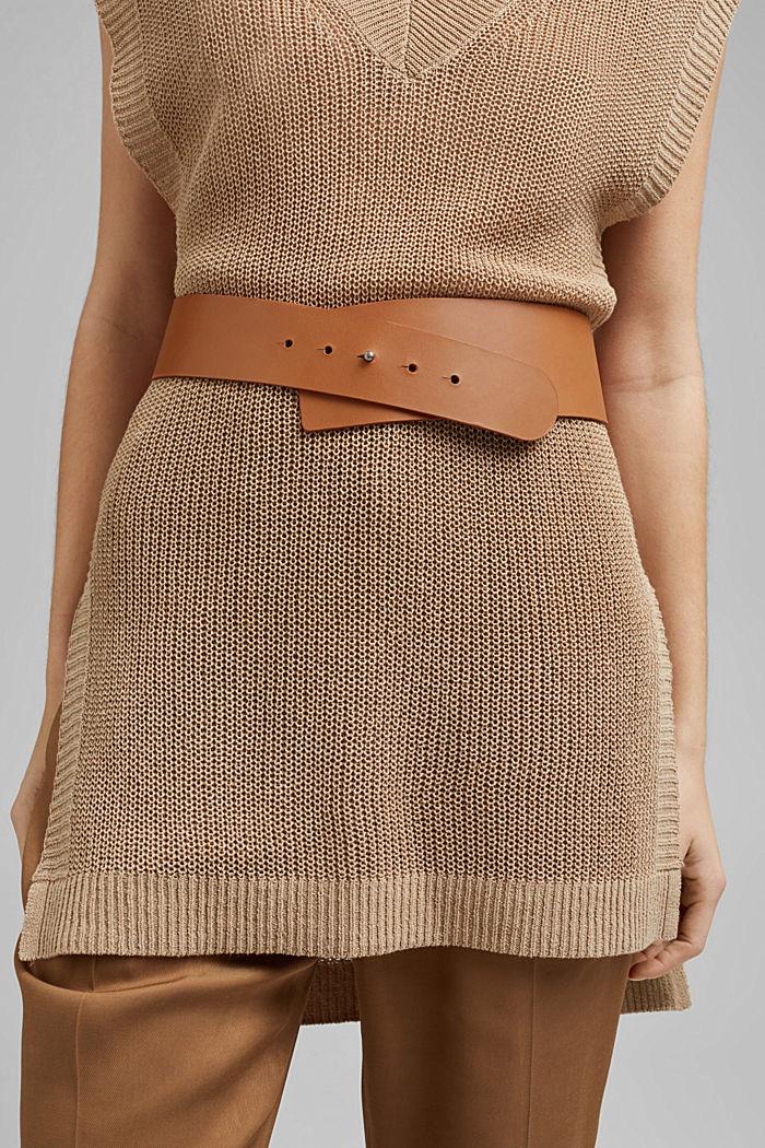 Cinturón ancho de piel