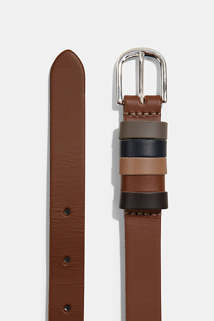 Leather belt with multiple loops, RUST BROWN, detail image number 1