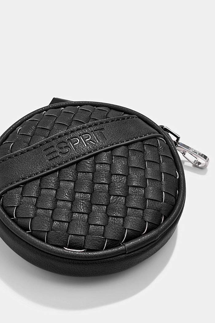 Vegan: round, woven-effect pouch, BLACK, detail image number 1