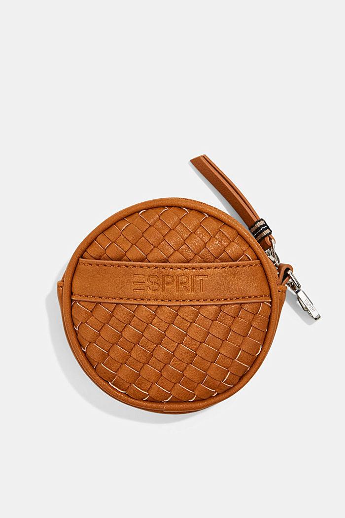 Vegan: round, woven-effect pouch
