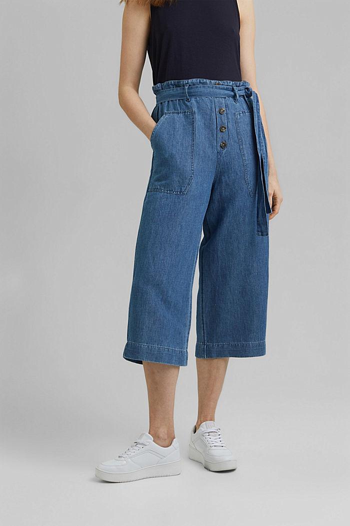 Met linnen: denim culotte met paperbagband