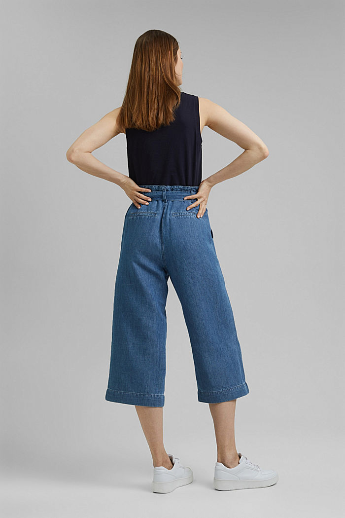 Linen blend: denim culottes with a paperbag waistband, BLUE MEDIUM WASHED, detail image number 3