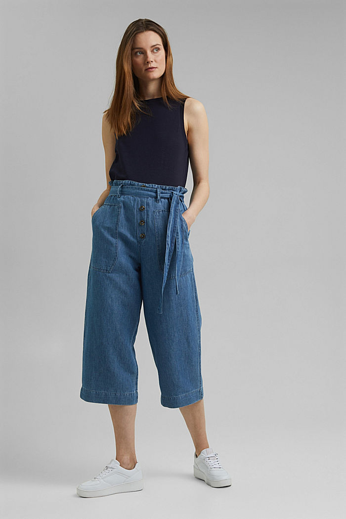 Linen blend: denim culottes with a paperbag waistband, BLUE MEDIUM WASHED, detail image number 1