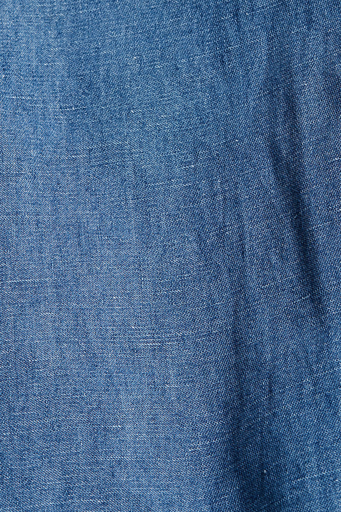 Linen blend: denim culottes with a paperbag waistband, BLUE MEDIUM WASHED, detail image number 4