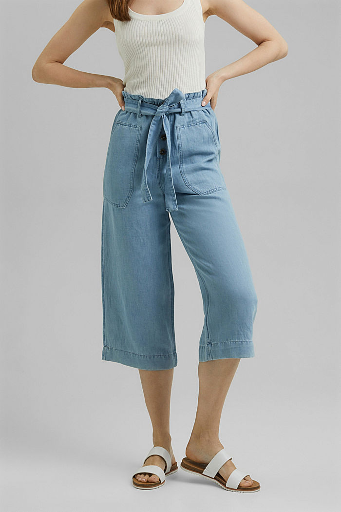 Linen blend: denim culottes with a paperbag waistband, BLUE LIGHT WASHED, detail image number 0