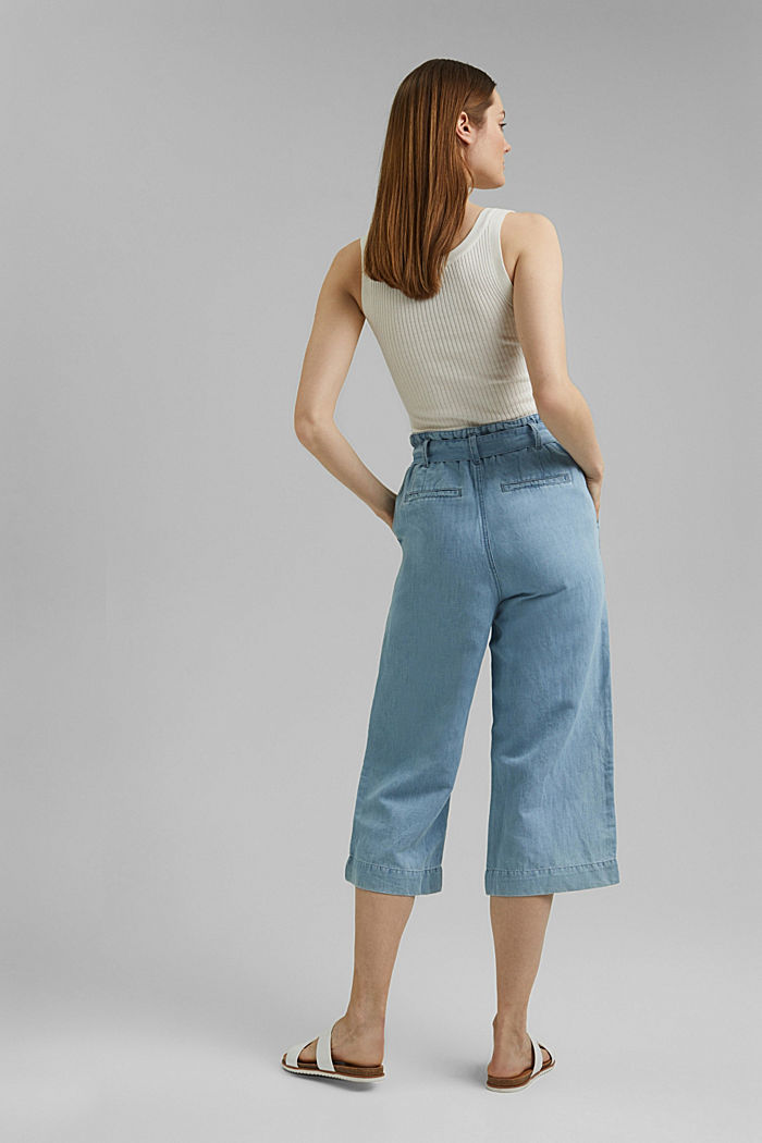 Linen blend: denim culottes with a paperbag waistband, BLUE LIGHT WASHED, detail image number 3