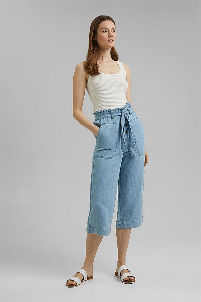 Linen blend: denim culottes with a paperbag waistband, BLUE LIGHT WASHED, detail image number 1