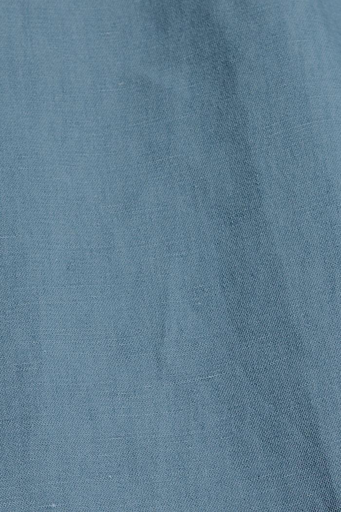 Linen blend: denim culottes with a paperbag waistband, BLUE LIGHT WASHED, detail image number 4