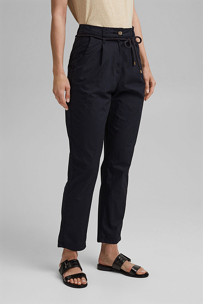 High-rise chinos with a tie-around belt, BLACK, detail image number 0