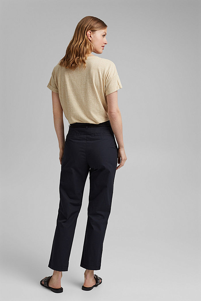 High-rise chinos with a tie-around belt, BLACK, detail image number 3