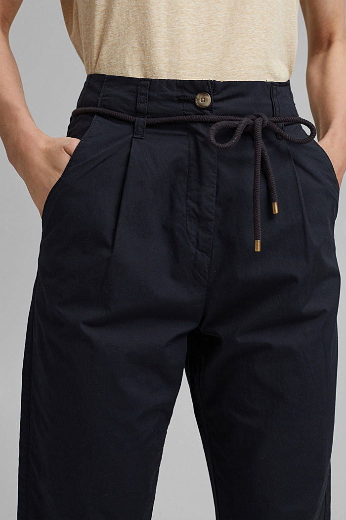 High-rise chinos with a tie-around belt, BLACK, detail image number 2