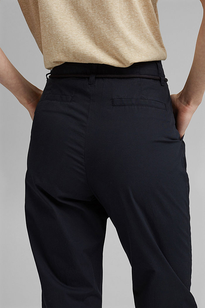 High-rise chinos with a tie-around belt, BLACK, detail image number 5