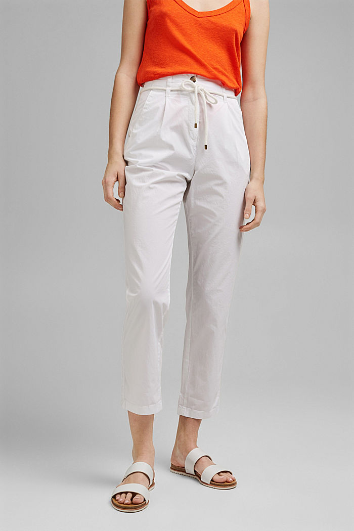 High-rise chinos with a tie-around belt