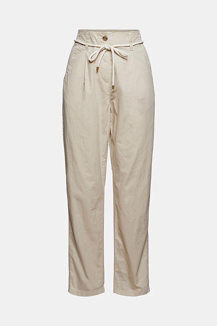 Pantalones chinos de cintura alta y cinturón para anudar