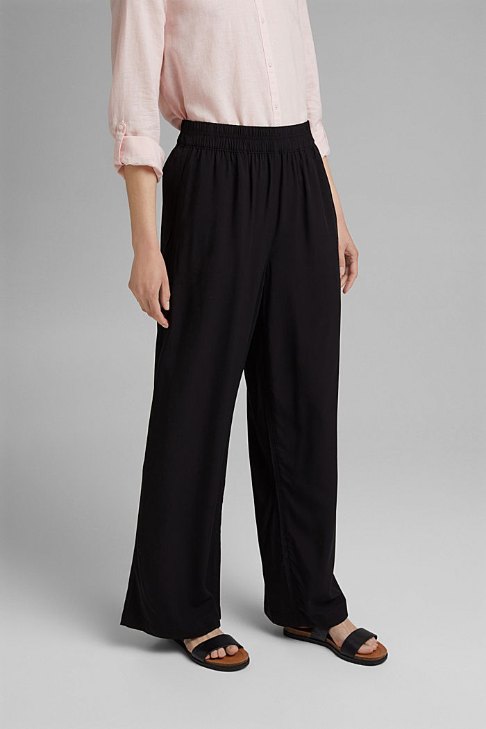 Flowing trousers with an elasticated waistband, BLACK, detail image number 0