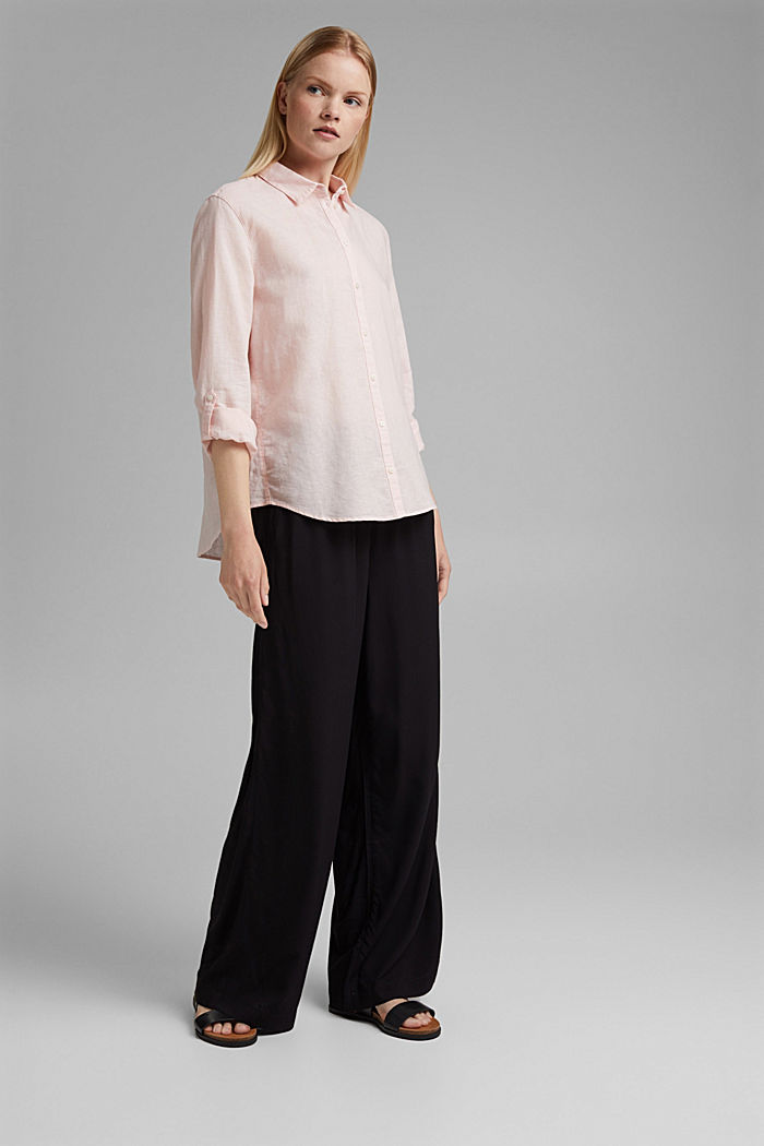 Flowing trousers with an elasticated waistband, BLACK, detail image number 1
