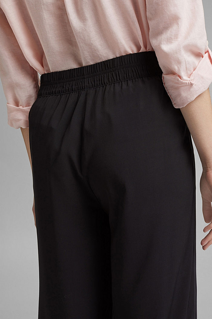 Flowing trousers with an elasticated waistband, BLACK, detail image number 5