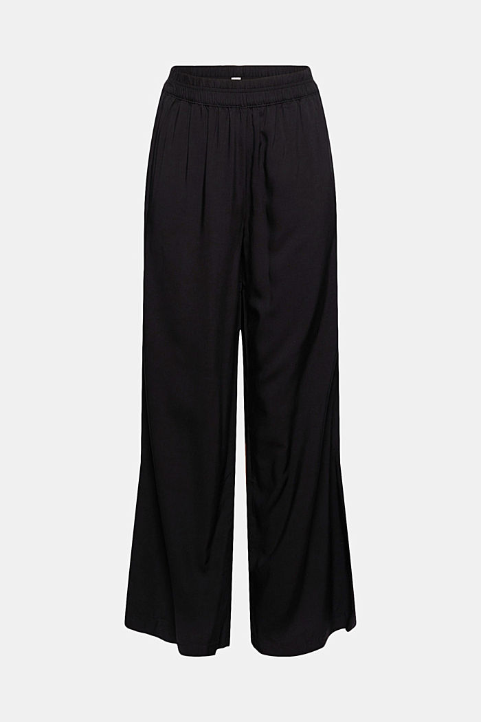 Flowing trousers with an elasticated waistband, BLACK, detail image number 6
