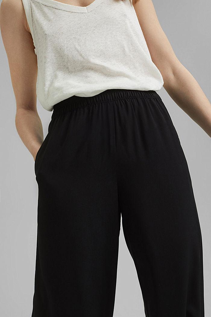 Fließende Culotte mit elastischem Bund, BLACK, detail image number 2