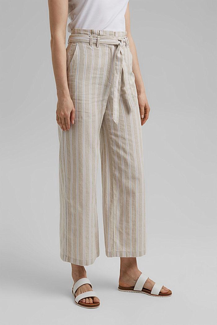 Materiale riciclato in cotone e lino: pantaloni con gamba larga, SAND, detail image number 0