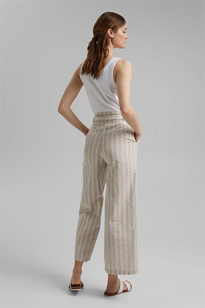 Materiale riciclato in cotone e lino: pantaloni con gamba larga, SAND, detail image number 3