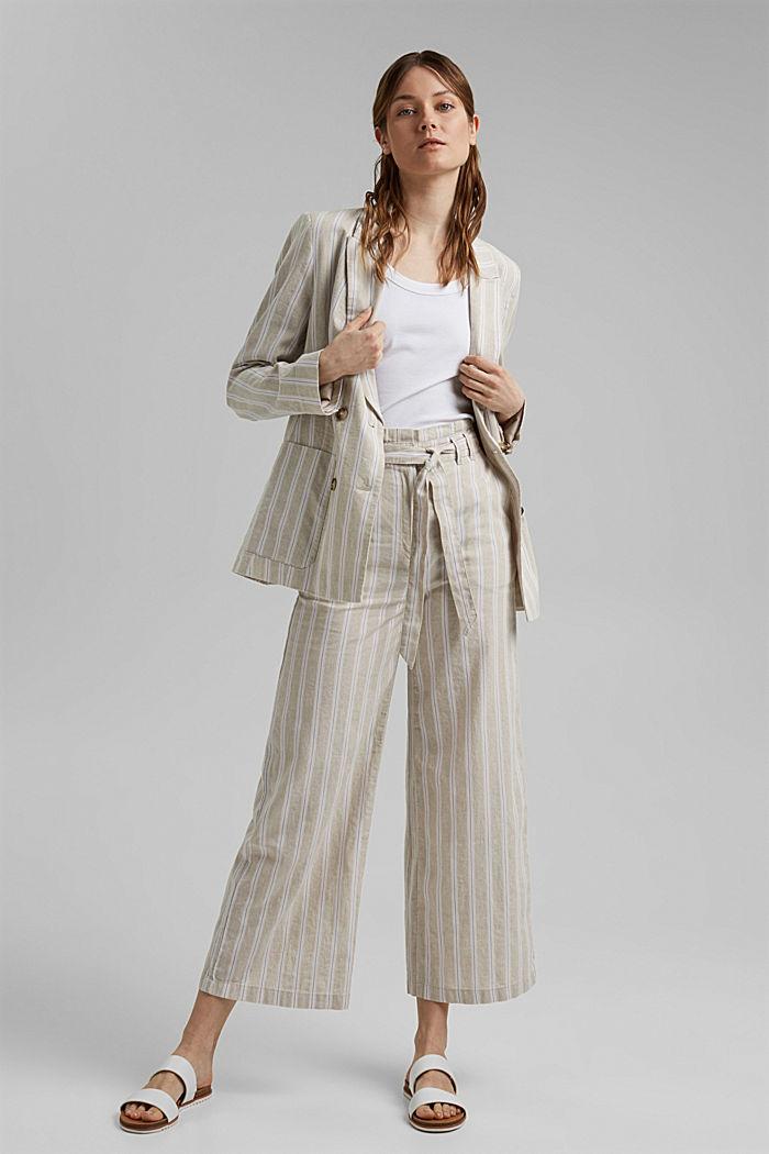 Materiale riciclato in cotone e lino: pantaloni con gamba larga, SAND, detail image number 1