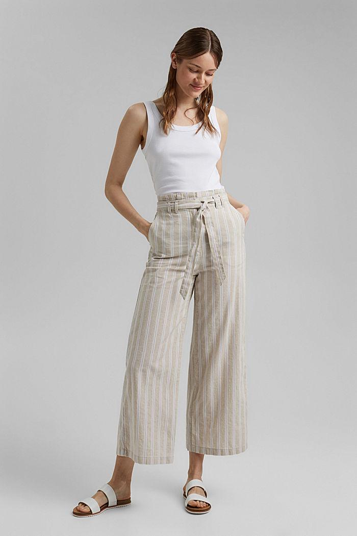 Materiale riciclato in cotone e lino: pantaloni con gamba larga, SAND, detail image number 7