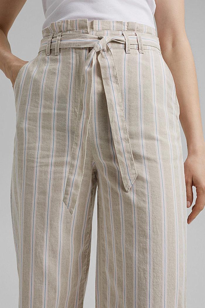 Materiale riciclato in cotone e lino: pantaloni con gamba larga, SAND, detail image number 2
