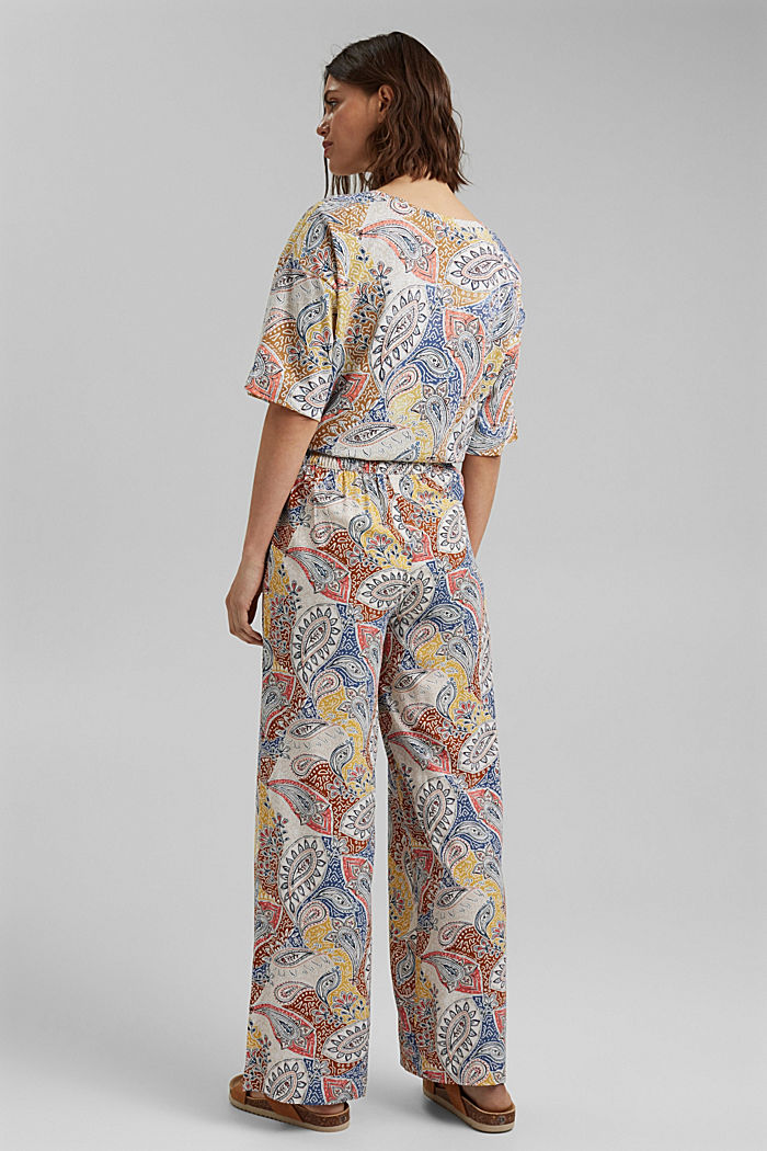 Printed wide-leg trousers, LIGHT BEIGE, detail image number 3