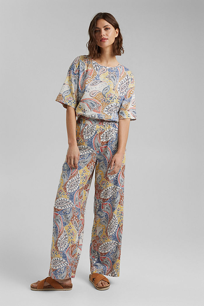 Printed wide-leg trousers, LIGHT BEIGE, detail image number 1