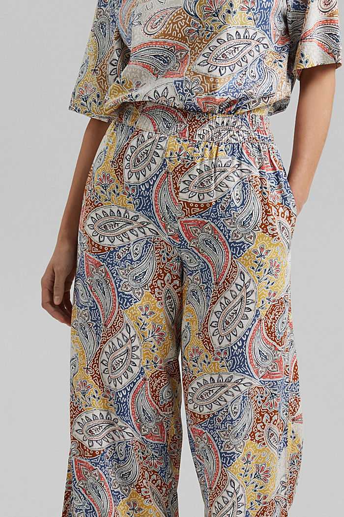 Printed wide-leg trousers, LIGHT BEIGE, detail image number 2