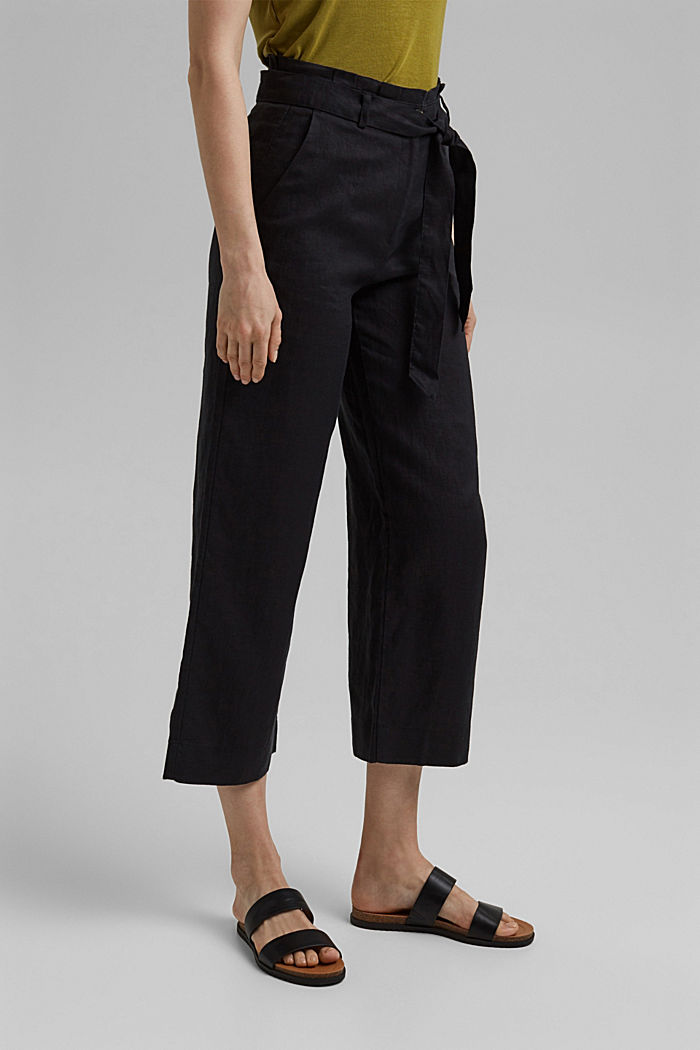 Made of 100% linen: wide trousers with a belt, BLACK, detail image number 0