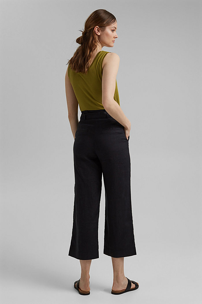 Made of 100% linen: wide trousers with a belt, BLACK, detail image number 3