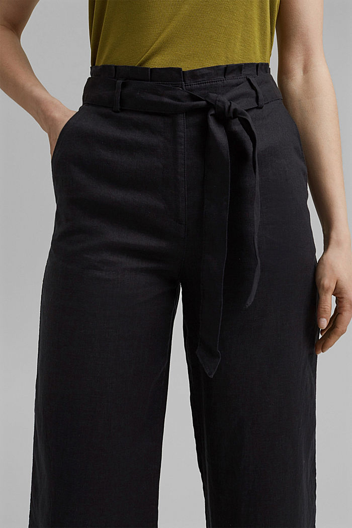 Made of 100% linen: wide trousers with a belt, BLACK, detail image number 2