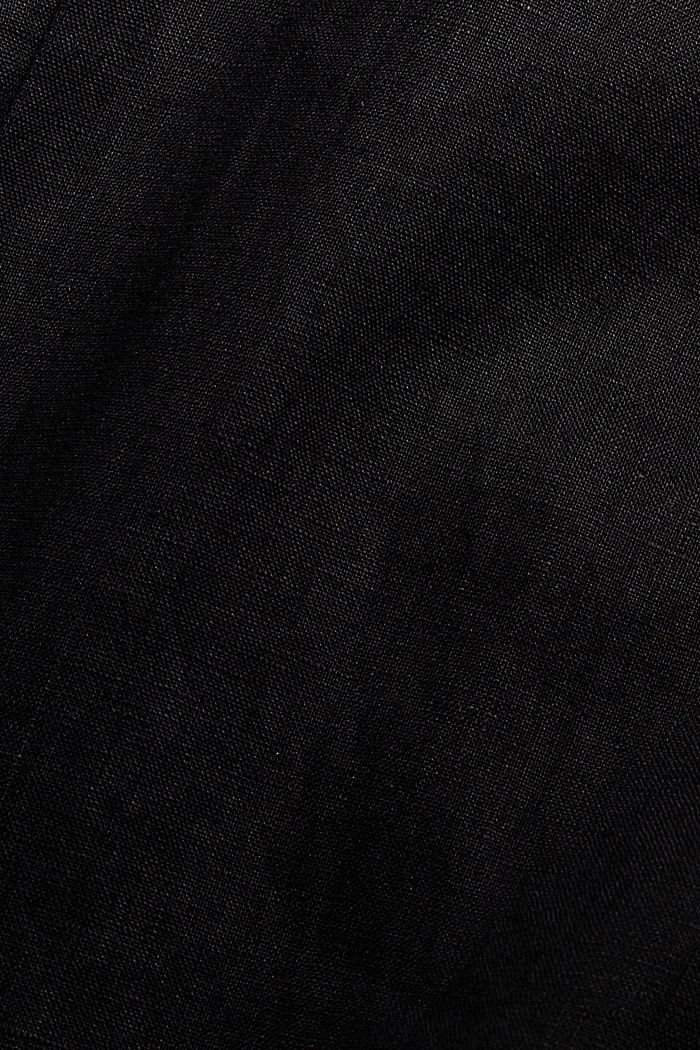 Made of 100% linen: wide trousers with a belt, BLACK, detail image number 4