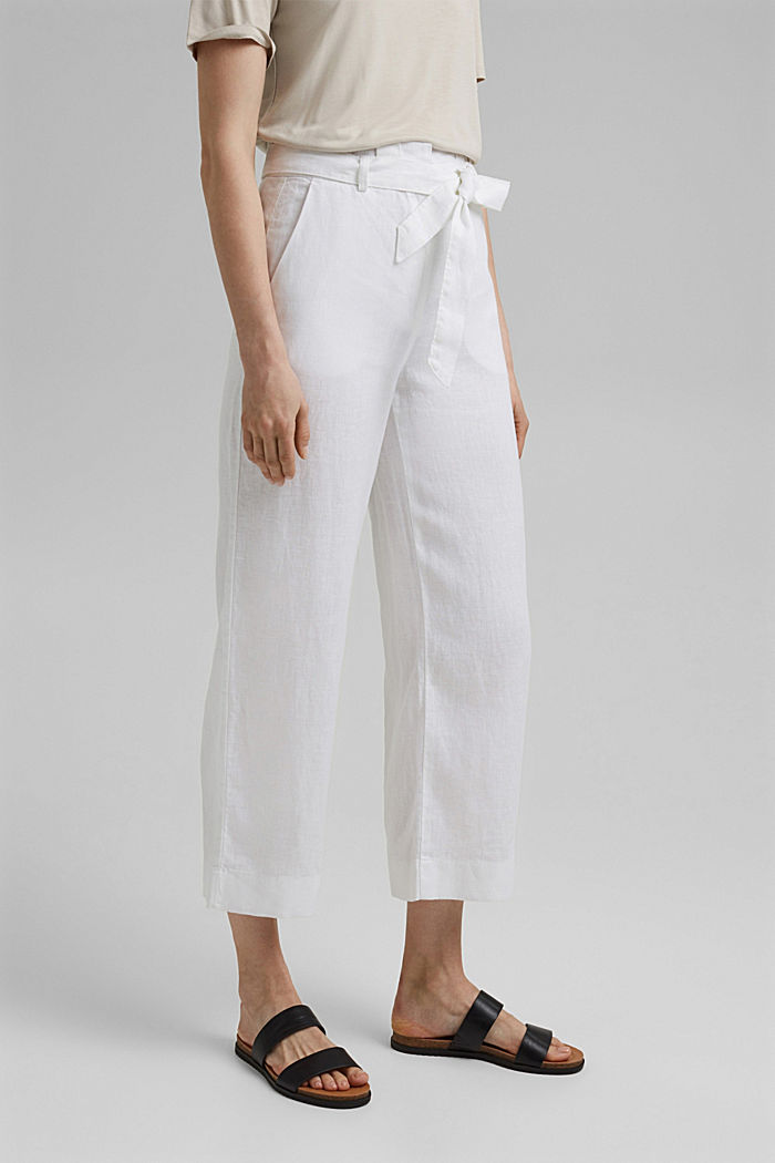 Made of 100% linen: wide trousers with a belt, WHITE, detail image number 0