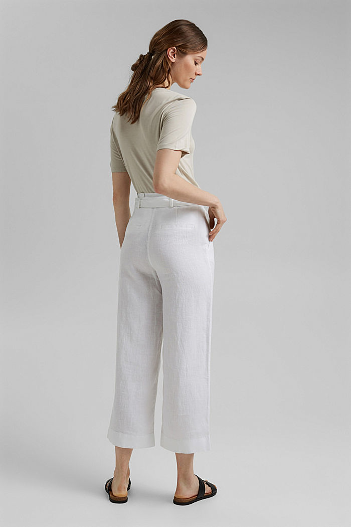 Made of 100% linen: wide trousers with a belt, WHITE, detail image number 3