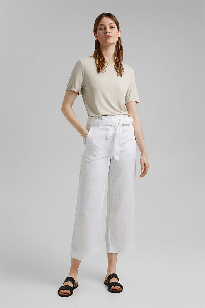 Made of 100% linen: wide trousers with a belt, WHITE, detail image number 1