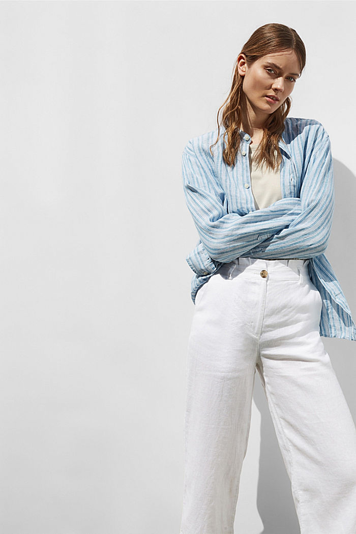 Made of 100% linen: wide trousers with a belt, WHITE, detail image number 8