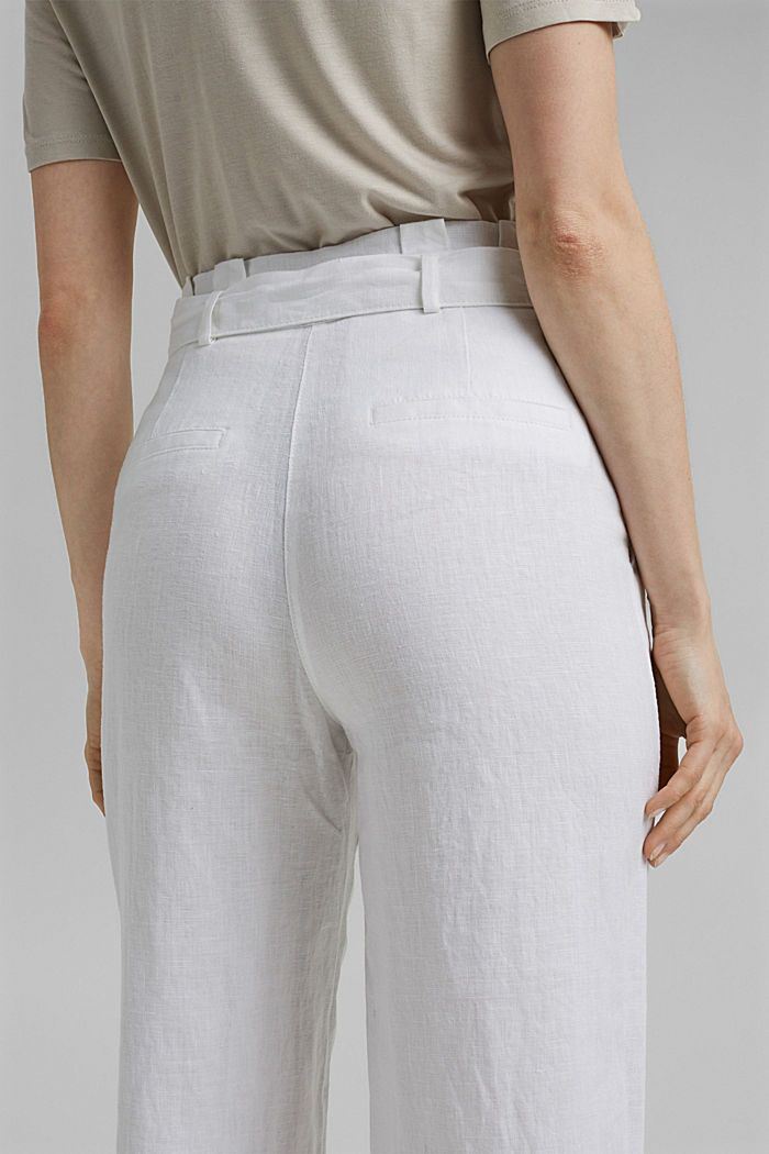 Made of 100% linen: wide trousers with a belt, WHITE, detail image number 5