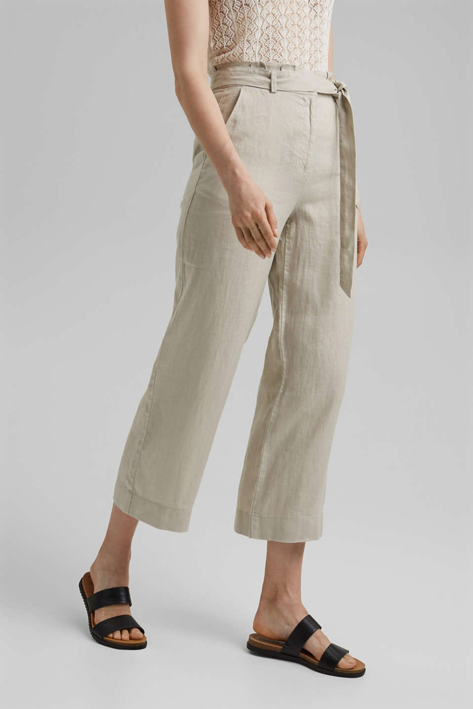 Esprit - Made of 100% linen: wide trousers with a belt