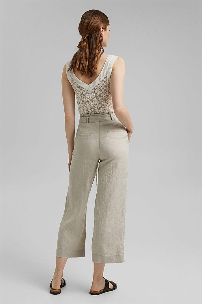 En 100% lino: pantalón amplio con cinturón, SAND, detail image number 3