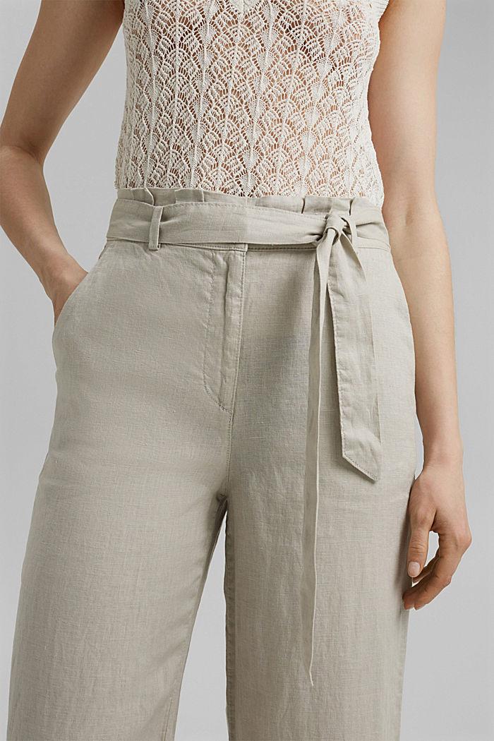 En 100% lino: pantalón amplio con cinturón, SAND, detail image number 2