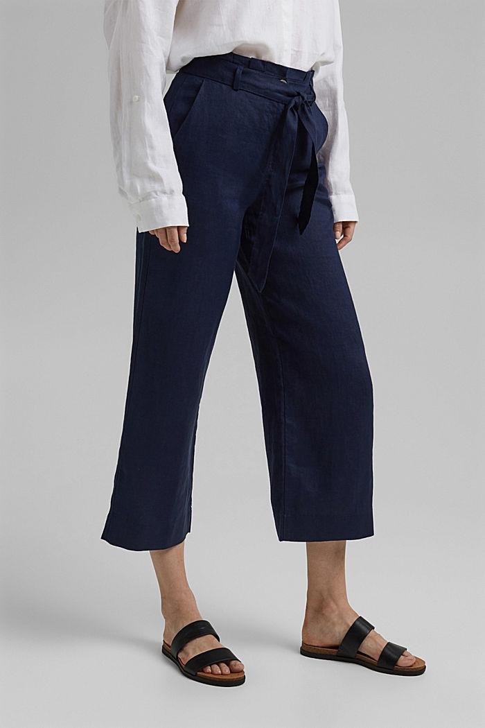 Van 100% linnen: wijde broek met riem, NAVY, detail image number 0