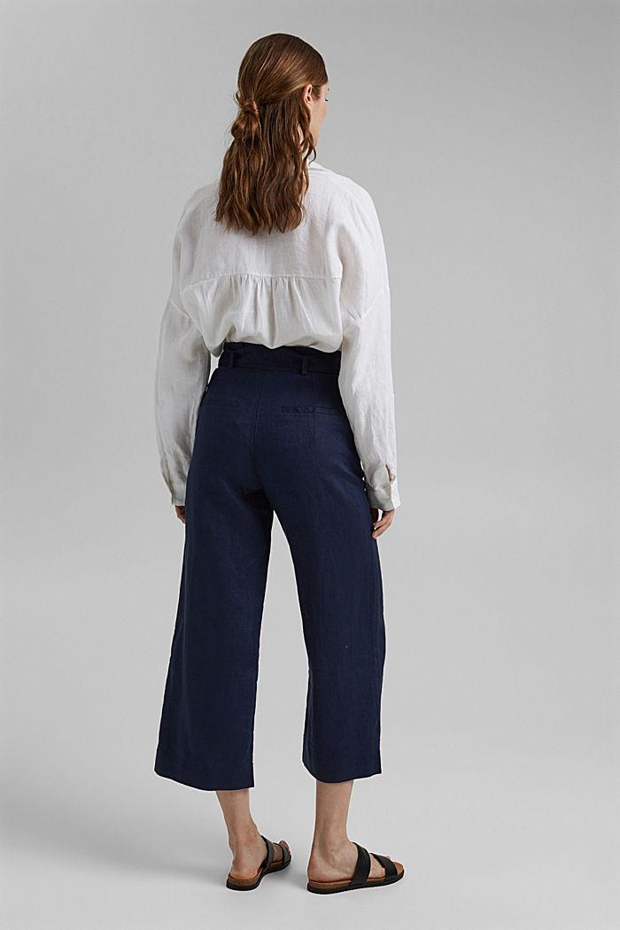 Van 100% linnen: wijde broek met riem, NAVY, detail image number 3