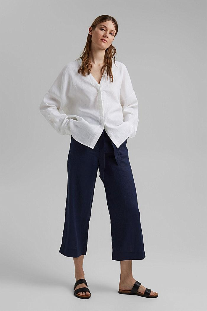 Van 100% linnen: wijde broek met riem, NAVY, detail image number 6