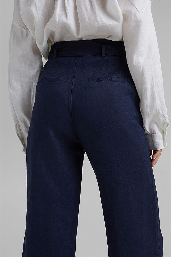 Van 100% linnen: wijde broek met riem, NAVY, detail image number 5
