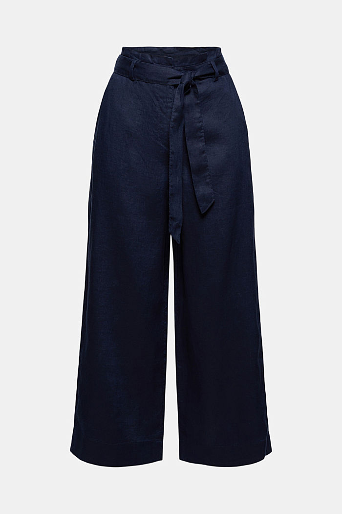 Made of 100% linen: wide trousers with a belt